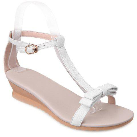 Stylish T-Strap and Bow Design Women's Sandals - WHITE 38