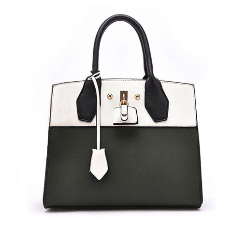 Fashionable Color Matching and PU Leather Design Tote Bag For Women - WHITE/BLACK