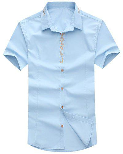 Embroidered Design Turn-Down Collar Short Sleeve Men's Shirt - LIGHT BLUE 5XL