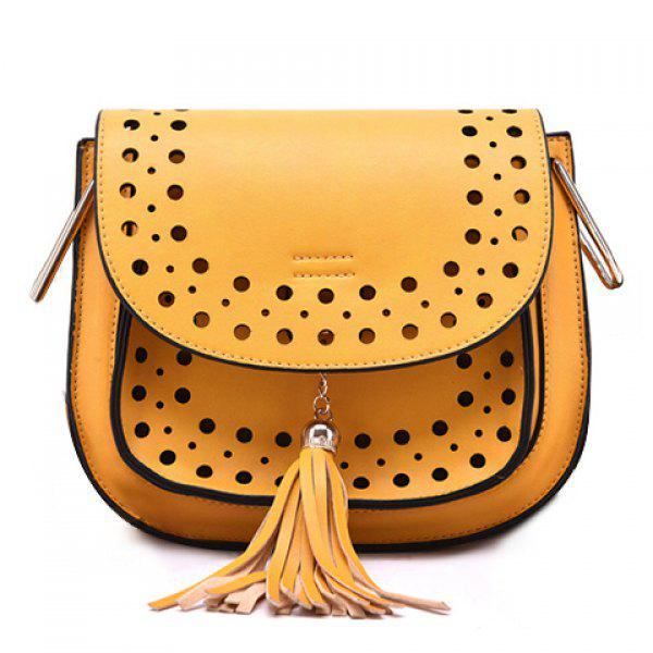 Trendy Hollow Out and Tassels Design Crossbody Bag For Women
