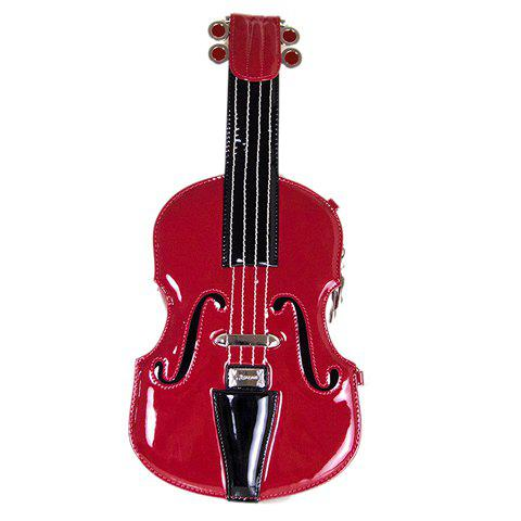 Novelty Violin Shape and Color Matching Design Women's Crossbody Bag - WINE RED