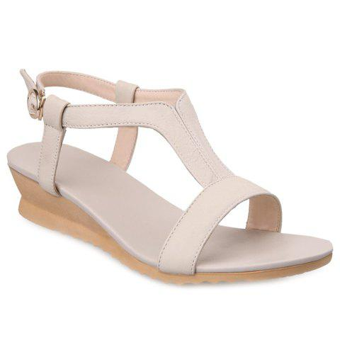 Casual PU Leather and Solid Color Design Women's Sandals - OFF WHITE 38