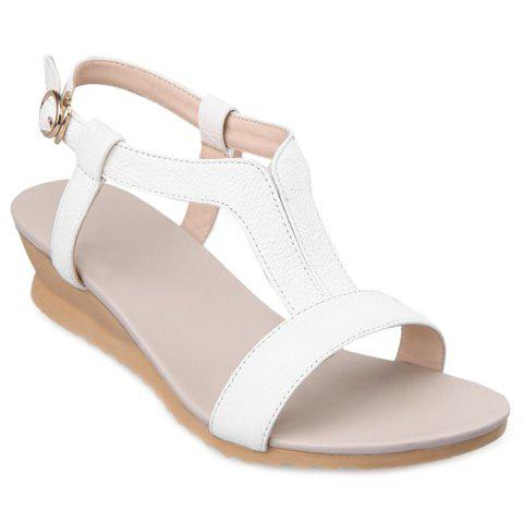 Casual PU Leather and Solid Color Design Women's Sandals - WHITE 38