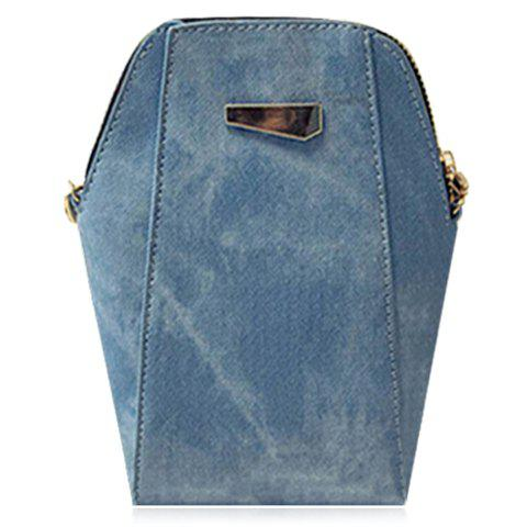 Trendy Solid Colour and PU Leather Design Shoulder Bag For Women - BLUE
