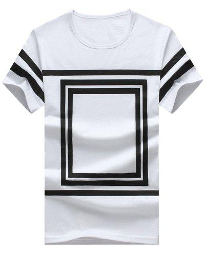 Square Printed Round Neck Short Sleeve Men's T-Shirt - WHITE 3XL
