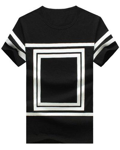 Square Printed Round Neck Short Sleeve Men's T-Shirt