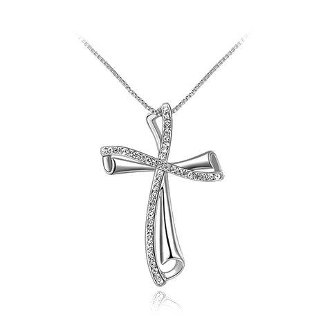 Cross Rhinestoned Pendant Necklace - SILVER