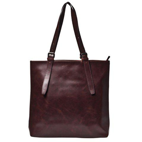 Vintage Solid Colour and PU Leather Design Briefcase For Men - COFFEE