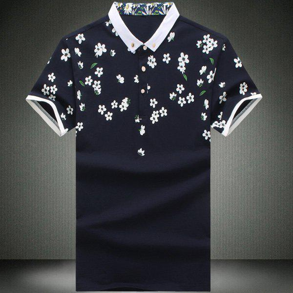 Fashionable Turn-Down Collar Floral Print Short Sleeve Men's Polo T-Shirt