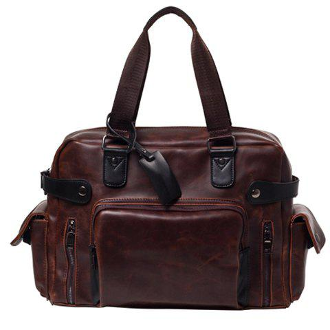 Vintage Style PU Leather and Solid Colour Design Briefcase For Men - COFFEE