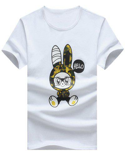 Rabbit Cartoon Printed Round Neck Short Sleeve Men's T-Shirt - WHITE 5XL