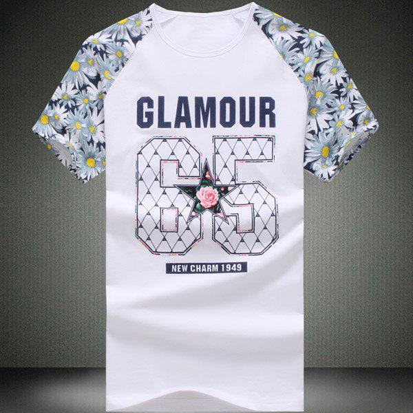 Round Neck Number Pattern Floral Print Splicing Short Sleeve Men's T-Shirt - WHITE XL