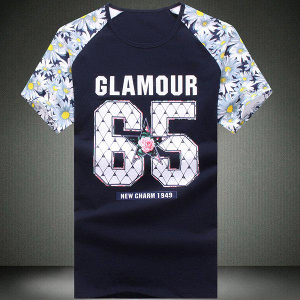 Round Neck Number Pattern Floral Print Splicing Short Sleeve Men's T-Shirt - CADETBLUE 6XL