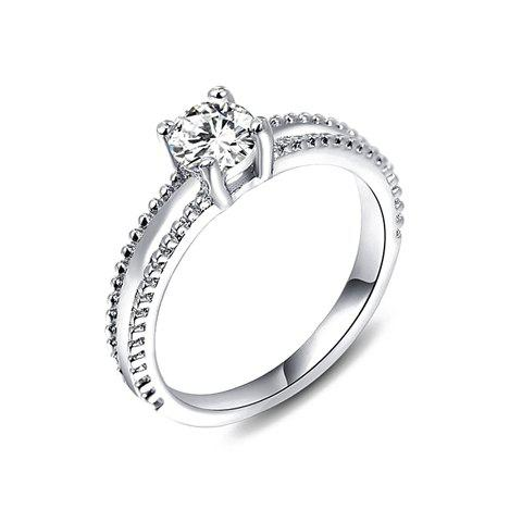 Chic Solid Color Rhinestone Ring For Women - SILVER ONE-SIZE
