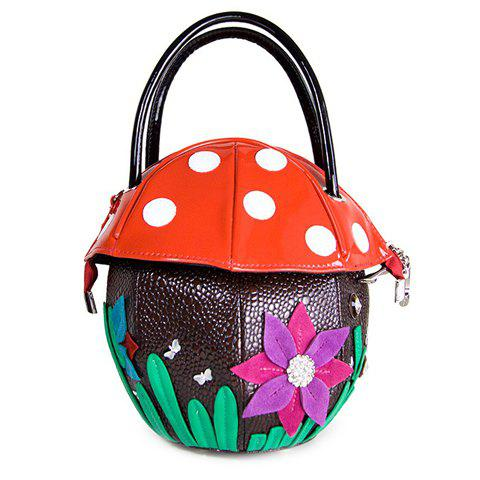 Cute Mushroom Shape and Floral Design Women's Tote Bag - RED