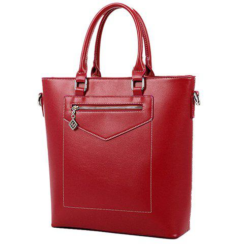 Graceful Solid Colour and PU Leather Design Tote Bag For Women - WINE RED