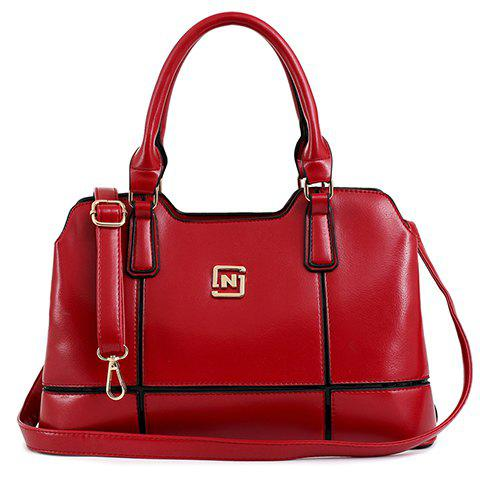 Trendy Plaid and PU Leather Design Tote Bag For Women - WINE RED