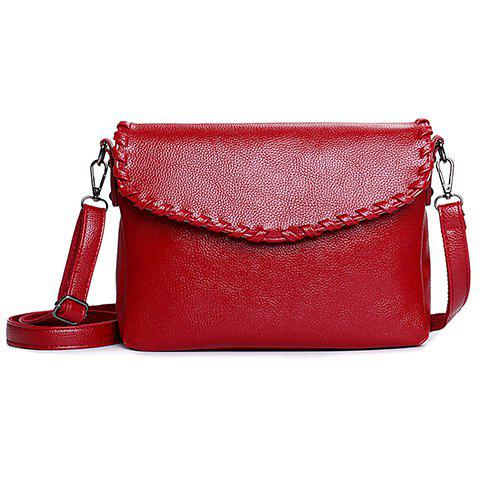 Simple Cover and Solid Color Design Crossbody Bag For Women - WINE RED