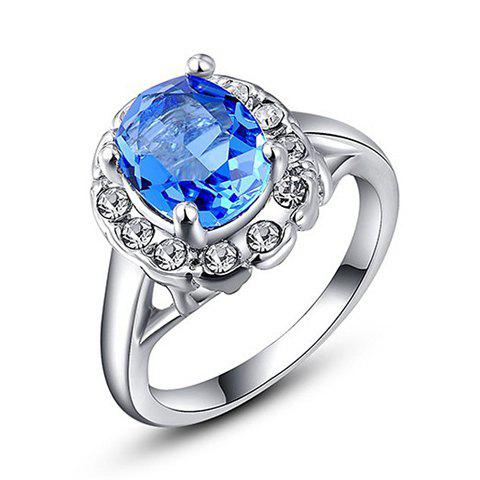 Graceful Rhinestone Faux Sapphire Ring For Women - SILVER ONE-SIZE