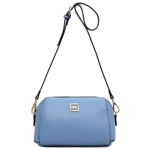Simple PU Leather and Solid Color Design Crossbody Bag For Women - LIGHT BLUE