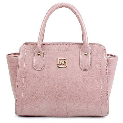Retro Solid Colour and PU Leather Design Tote Bag For Women - PINK