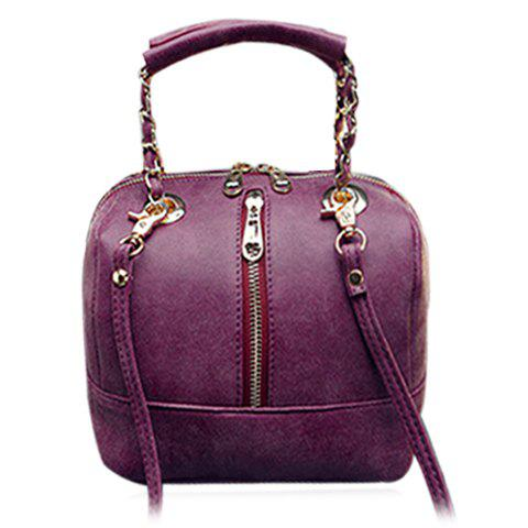 Stylish Solid Colour and Zippers Design Women's Tote Bag - PURPLISH RED