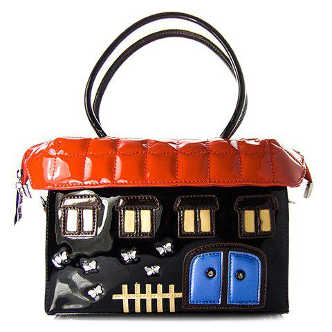 Stylish House Shape and Color Block Design Women's Tote Bag - RED/BLACK