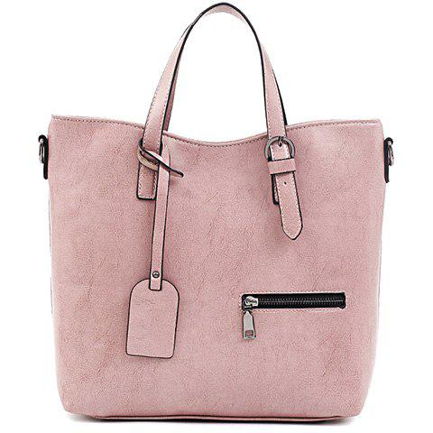 Stylish Solid Color and Zipper Design Tote Bag For Women - PINK