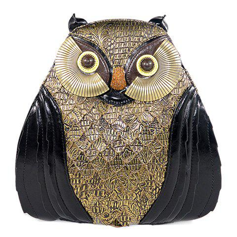 Retro Owl Shape and Color Matching Design Women's Satchel - BLACK