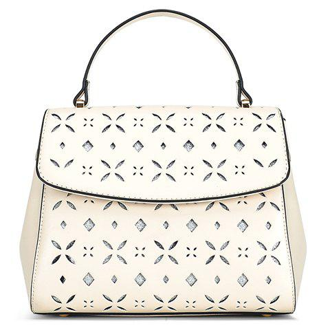 Stylish PU Leather and Engraving Design Women's Tote Bag - OFF WHITE