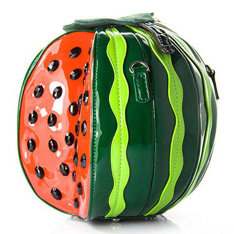 Novelty Watermelon Shape and Color Block Design Women's Crossbody Bag - GREEN
