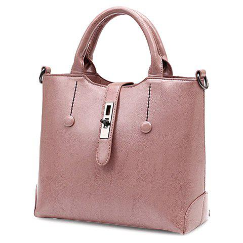 Trendy PU Leather and Buttons Design Women's Tote Bag - PINK