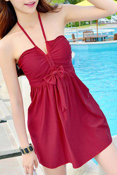 Stylish Women's Halter Bowknot Cover Dress + Boxers Swimsuit - WINE RED XL