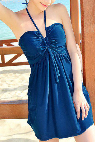 Stylish Women's Halter Bowknot Cover Dress + Boxers Swimsuit - BLUE L