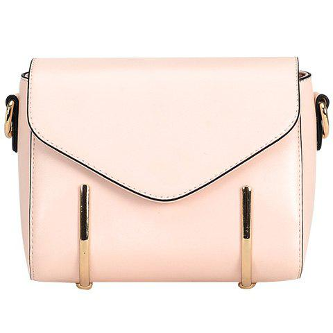Stylish Solid Colour and Metal Design Women's Crossbody Bag - LIGHT PINK
