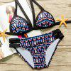 Stylish Women's Halter Geometrical Bikini Set - BLUE M