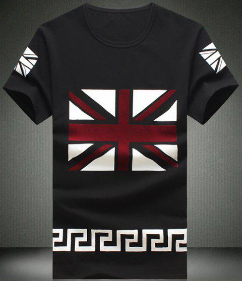 Round UK Flag Pattern Short Sleeve Men's T-Shirt - BLACK 4XL