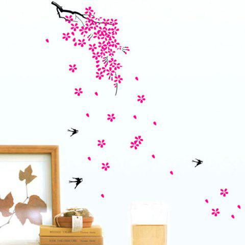 High Quality Flying Swallow Flower Pattern Removeable Wall Stickers - COLORMIX