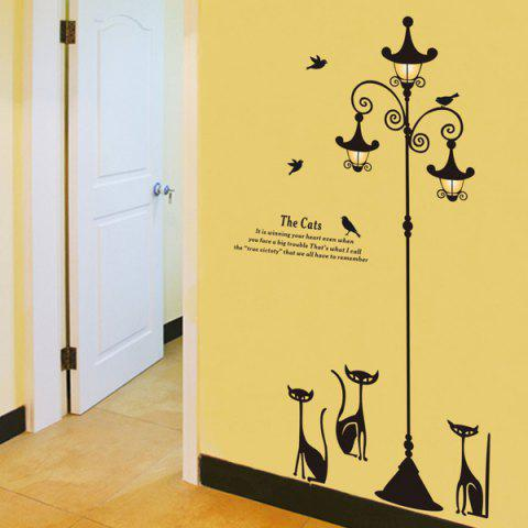 Chic Cartoon Cat Street Lamp Pattern Removeable Wall Sticker - BLACK