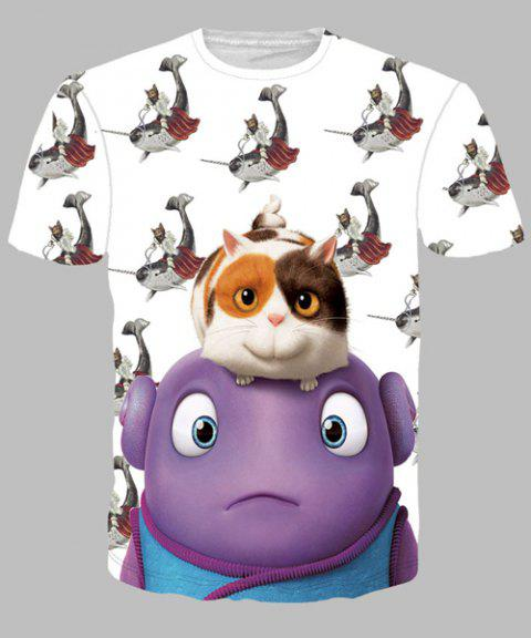 Round Neck Funny Cartoon Animal Print Short Sleeves Men's 3D T-Shirt - COLORMIX XL