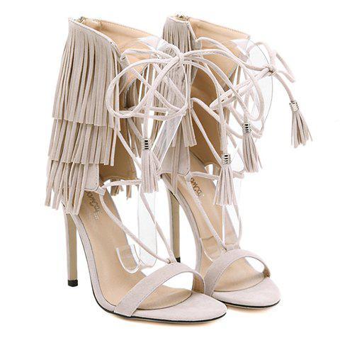 debc8423b4e 17% OFF  2019 Sexy Lace-Up and Fringe Design Women s Sandals In ...
