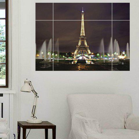 Chic Eiffel Tower Puzzle Pattern Removeable 3D Wall Sticker - COLORMIX