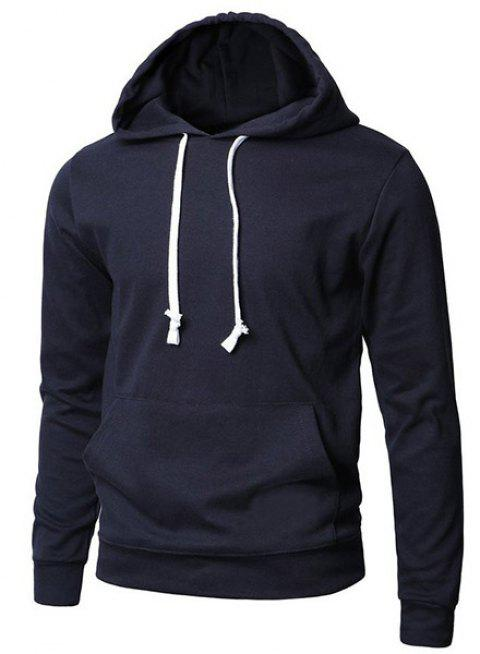 Trendy Hooded Pure Color Front Pocket Long Sleeve Men's Hoodie - SAPPHIRE BLUE M