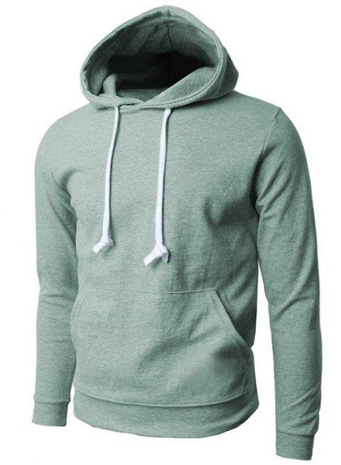 Trendy Hooded Pure Color Front Pocket Long Sleeve Men's Hoodie - GREEN XL