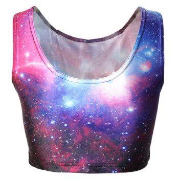 Active Galaxy Print Bodycon Cropped Tank Top For Women