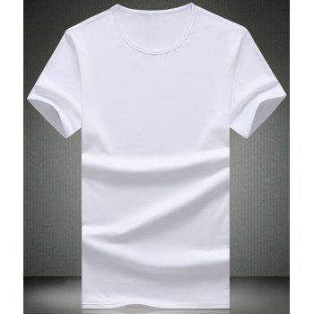 Buy Simple Solid Color Round Neck Short Sleeve Men's T-Shirt WHITE