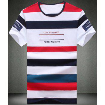 Round Neck Color Block Stripe and Letters Printed Short Sleeve Men's T-Shirt