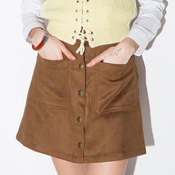 Vintage Women's A Line Khaki Suede Skirt by Dress Lily