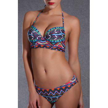 Ethnic Style Halter Printed Push Up Underwire Women's Bikini Set