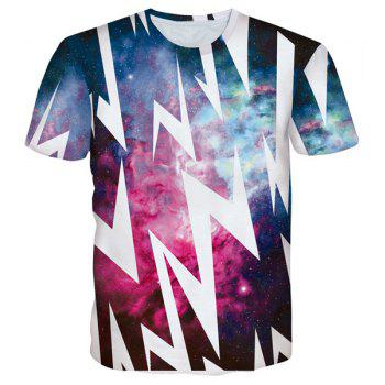 3D Lightning Starry Sky Print Round Neck Short Sleeves Men's T-Shirt - COLORMIX COLORMIX